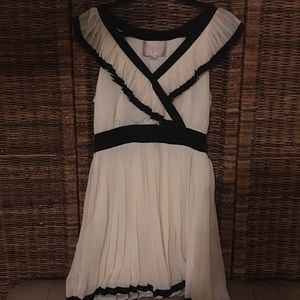 Black and White Pleated Party Dress
